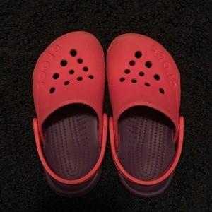 Size 7 Toddler Crocs pink & purple